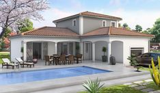 How to choose the style of house that suits you? Courtyard House Plans, Facade House, House Facades, Style At Home, Farmhouse Exterior Colors, Modern Bungalow House, Modern Villa Design, Model House Plan, Dream House Exterior