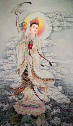 GUANYIN: the patroness saving people from calamities Buddha Kunst, Buddha Art, Chinese Painting, Chinese Art, Thangka Painting, Buddha Buddhism, Guanyin, Japanese Art, Asian Art