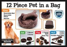 Cheetah Brown 12 Piece Pet In A Bag Set, Large -- Click image to review more details. (This is an Amazon affiliate link)