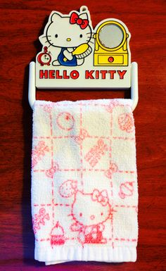 1976 sanrio hello kitty vintage towel holder and towel