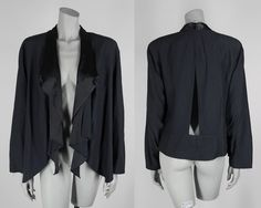 Vintage 80s Jacket / 1980s Avant Garde Dark Navy Blue and Black Open Front Cutout Drape Jacket Free Size by FloriaVintage on Etsy