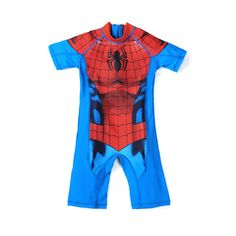 UPF 50 UV Protection Baby Beachwear Superhero Spiderman Costume Boys One Piece Swimsuit Kids Captain America Children's Swimwear