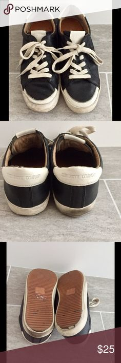 Frye Black leather tennis shoes Sneakers Sz 7.5 The Frye Company Black leather Tennis Shoes style 3470040-BLK size 7.5 M in great condition from smoke free pet free home.  Back of soles show signs of wear see photo Frye Shoes Sneakers