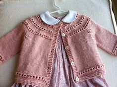 Baby Knitting Patterns Girl Ravelry: Eyelet Yoke Baby Cardigan pattern by Carole Barenys Baby Cardigan Knitting Pattern Free, Double Knitting Patterns, Baby Sweater Patterns, Knitted Baby Cardigan, Knit Baby Sweaters, Knitted Baby Clothes, Cardigan Pattern, Baby Knits, Knit Baby Dress