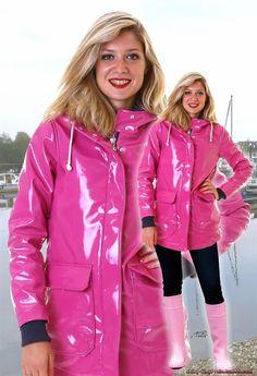 Pink Raincoat, Plastic Raincoat, Vinyl Clothing, Rainy Day Fashion, Shiny Leggings, Rain Wear, Lady, Rain Jacket, Jackets For Women