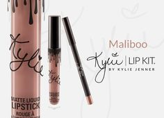 Maliboo | Lip Kit  Contains: 1 Matte Liquid Lipstick (0.11 fl oz./oz. liq / 3.25 ml) and 1 Pencil Lip Liner (net wt./ poids net  .03 oz/ 1.0g)  The #KylieCosmetics LipKit is your secret weapon to create the perfect 'Kylie Lip.' Each Lip Kit comes with a Matte Liquid Lipstick and matching Lip Liner. Maliboo is a light cool-tone nude.   This ultra-long wearing lip liner has a creamy texture that glides across the lips for a very easy and comfortable application. The Lip Liner sharpens easily…