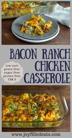 Bacon Ranch Chicken Casserole. Quick, easy, and so comforting. This is cheesy, bacony, and filling. It is low carb, grain, gluten, & sugar free, & a THM S.