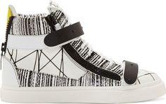 Giuseppe Zanotti White Abstract Print High Top Sneakers