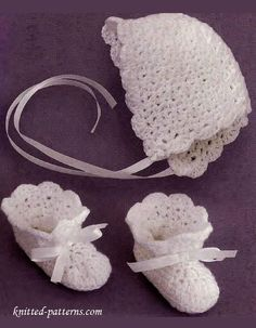 Baby bonnet and booties crochet pattern free - Sizes: 6 months (12 months)