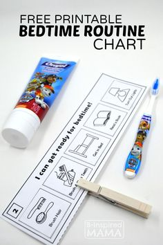 Free Printable Bedtime Routine Chart for Kids - B-Inspired Mama - Sponsored by Read2Me