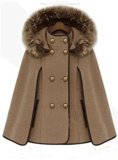Gorgeous Euramerican Fashion Woolen Cape Coat | In White, Red, Black, Grey, Sand & Navy