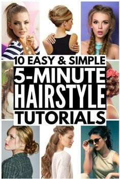 10 Easy Hairstyles in Under 5 Minutes! Looking for hairstyles for school, for work, for beginners, for moms, for weddings, or running late days? These updos are great for beginners, while others take a bit of practice, but once you master the techniques, they offer a quick way to make your locks look fab in less time! These looks are great for medium hair, but work on long & short hair as well. Full step-by-step tutorials included! #fiveminutehairstyles #hair #hairstyle #longhair…