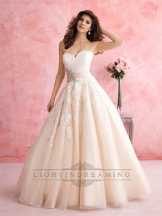 Strapless+Sweetheart+A-line+Lace+Ball+Gown+Wedding+Dress