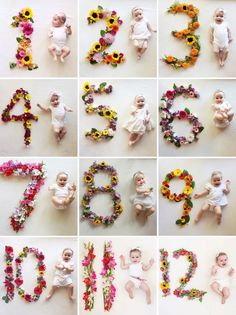 Adorable Way to Capture the Monthly Photos for Baby - using flower numbers!  {Photos by Lauren Bowyer}