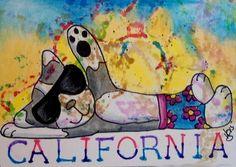 "Aceo  Original  ATC OOAK    ""CALIFORNIA KITTY""   pencil/ink  #OutsiderArt"