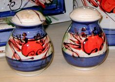 Salt & Pepper Shakers by Donna Toohey. American Made. See the designer's work at the 2015 American Made Show, Washington DC. January 16-19, 2015. americanmadeshow.com #saltandpeppershakers, #ceramic, #crabs, #americanmade