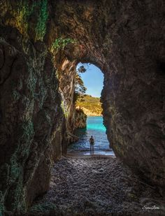 The Keyhole - Spiros Lioris Photography 500px.com/photo/80372749 Rovinia beach, Corfu - Greece #beach #cave #sea