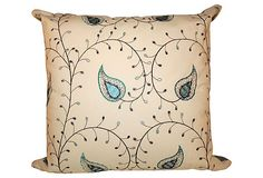 Blue & White Embroidered Pillow    $115.00