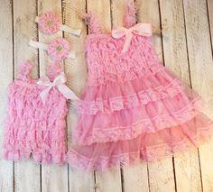 Pink sister dress with matching headband