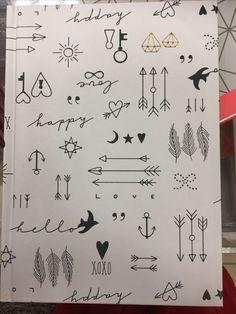 Cute little doodle drawing ideas for bullet journal - Zeichnungen iDeen ✏️ Kritzelei Tattoo, Doodle Tattoo, Doodle Drawings, Easy Drawings, Tattoo Drawings, Cute Little Drawings, Bullet Journal Aesthetic, Bullet Journal Art, Bullet Journal Ideas Pages