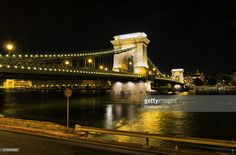 long exposure of chain bridge from buda side in budapest on a warm autumn day.this is one of the most well known of several bridges across danube river built in different dates in budapest.