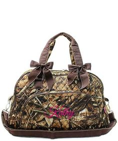 "Personalized Natural Camo Brown 18"" Quilted Duffle Tote Bag - Gifts Happen Here - 1"
