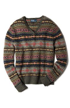 Polo by Ralph Lauren Men's Green Pullover Sweater Wool Alpaca V-Neck Fair Isle L Mens Button Up Sweater, Sweater Coats, Men Sweater, Dandy, Fair Isle Pullover, British Style Men, Tweed Run, Fair Isle Knitting, Country Outfits