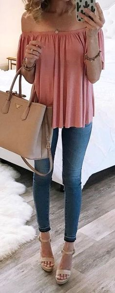 #summer #outfits / off the shoulder peach + denim
