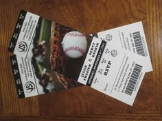 Baseball Ticket Invitations by SportsThemedWeddings.com I used this company for my baseball themed wedding and they were amazing!