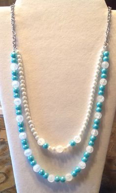 Fall Collection 2015Aquamarine pearls and Frosted White by BonKim