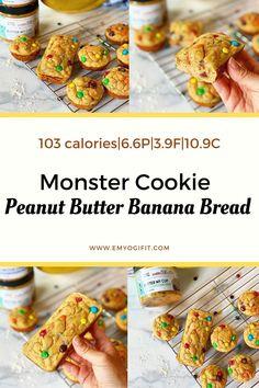 Protein Desserts, Dessert Healthy, Dessert Recipes, Peanut Butter Banana Bread, Healthy Banana Bread, Easy Snacks, Healthy Snacks, Ripped Recipes, Macro Friendly Recipes
