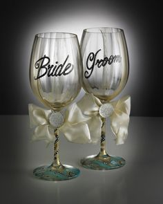 Hand Painted Wine Glasses,