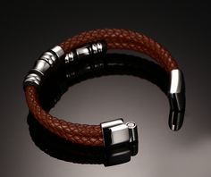 Jewelry Men Vintage Leather Bracelet Wrap Band Double Braided Rope Stainless Steel Bangle Brown with 8inch Love it? #Jewelry #shop #beauty #Woman's fashion #Products