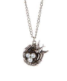 Another great find on #zulily! Silvertone Bird & Nest Pendant Necklace #zulilyfinds