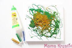 malen mit glitzer und kleber kinder leinwand gestalten ideen canva painting ideas glitter glue