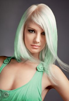 Pastel green hair color, normally I don't like green in blonde hair, but this is really pretty!