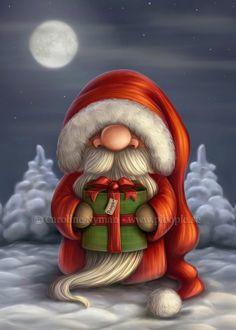 Little Santa with a gift by Ploopie.deviantart.com on @deviantART