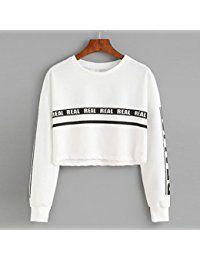 KANCOOLD Top Sweatshirts Women Fashion White Letter Print Crop Sweatshirt Top Blouse O-neck sweatshirt women Jumper, Crop Top Sweater, Hoodie Sweatshirts, Bauchfreier Pullover, Girls Fashion Clothes, Fashion Women, Women's Fashion, Short, Models