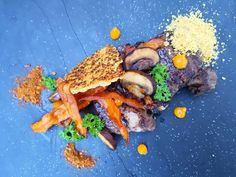 Ribeye steak, cheese, carrot and egg yolk