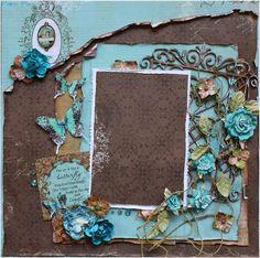 Premade 12x12 Shabby Chic Scrapbook Layout by LittleScrapShop