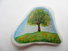 Miniature art - hand painted sea pottery - Tree on a hill in Summer   eBay