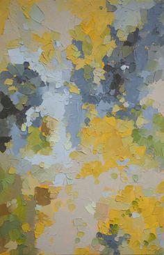 Je suis une pierre pour vous, puis soleil - Original abstrait peinture à l'huile (40x60cm - 16x24in App.) dans les jaunes frais, verts et gris pierreux en douceur