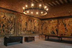 Tapestry Room Chamber in Tattershall Castle keep, furnished and decorated reconstruction of century life there. Photograph by Richard Croft