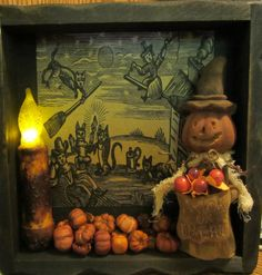 Primitive Beeswax Witch Shadow Box by WillowBPrimitives on Etsy