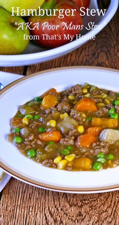 Hamburger Stew This hearty and delicious beef stew is made with ground beef, carrots, potatoes, celery, onions, corn and peas.