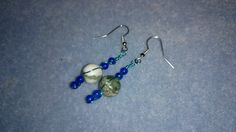 White and green quartz with blue coloured quartz earrings with supa green coloured wire www.facebook.com/KimsGlitteringGems