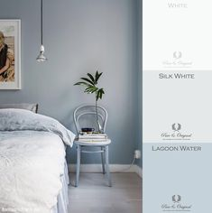 Moodboards - - Light blue inspiration by Blue Curtains For Bedroom, Blue Grey Walls, Blue Bedroom Walls, Bedroom Wall Colors, Bedroom Color Schemes, Bedroom Decor, Blue Bedrooms, Bedroom Ideas, Grey Wall Color