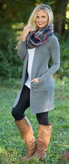 summer outfits Grey Cardigan + White Top + Black Leggings