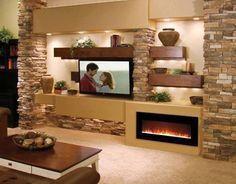 Parete attrezzata moderna in pietra e camino interior design