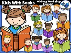 This set features lots of colorful kids with books; lots of different color…
